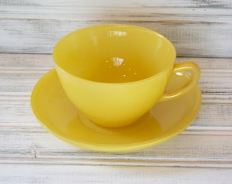 Fire King Rainbow Primary Yellow Cup & Saucer Set