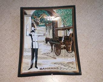 Vintage Houze Glass Smoked Glass Dish/Tray from Bahamas