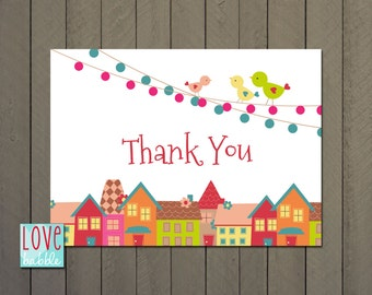 """Village Baby Shower, Realtor, New Home, Housewarming Thank you Card Notes PRINTABLE DIGITAL FILE - 4""""x5.5"""""""