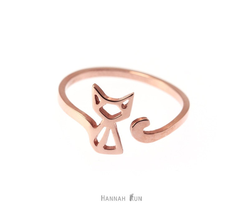 cat ring adjustable ring sterling silver cat ring by hannahrun