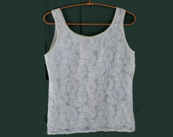 80's White Lace Tank Top, Vintage Top by Marks and Spencer, size M/L UK 14- US 12- EU42, Summer top, Vintage Fashion, Made in UK