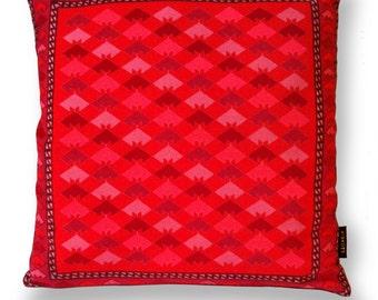 Red velvet cushion cover VERMILION