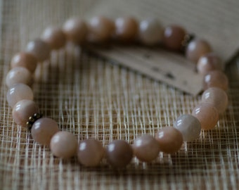 Sunstone Bracelet with Brass Oxide Accent Beads