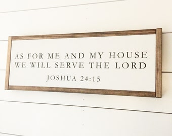 As for me and my house, wood sign, pray sign, scripture sign
