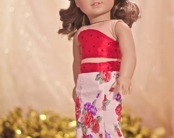 Red Floral 2-Piece Gown for American Girl 18 inch Doll