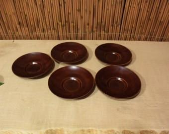 Vintage Japanese Wood LacquerTeaCup Saucer Set of 5