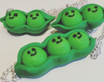 Peas in a pod pendant necklace