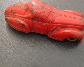 Vintage Sun Rubber Red Toy Car 1930s