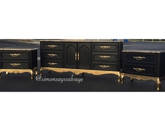 SAMPLE: Black and Gold Dipped French Provincial Dresser and Nightstands.