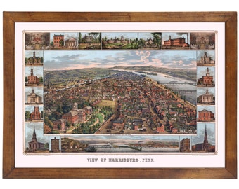 Harrisburg, PA 1855 Bird's Eye View; 24x36 Print from a Vintage Lithograph