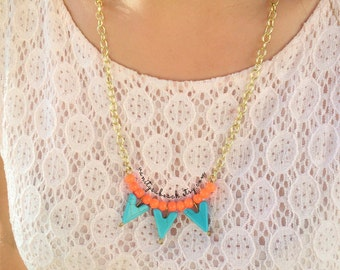 Blue and Orange Three Triangles Necklace