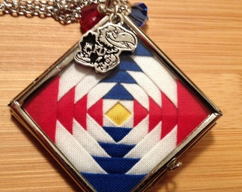 KU Jayhawks Quilt Necklace