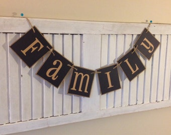 Family Banner Sign Bunting Garland Photo Wall Decoration Black Photo Prop
