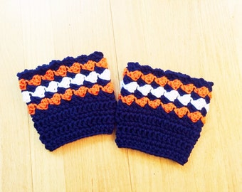 Handmade Crocheted Denver Broncos Inspired Boot Cuffs, Boot Toppers