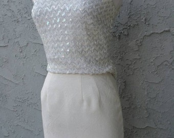"Ivory Cream ""Adam Smith Petite"" High Waisted Knee Length Pencil Skirt"