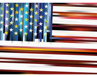 The Stars and Stripes, A3 art poster, abstract poster, wall decor, art print, modern design
