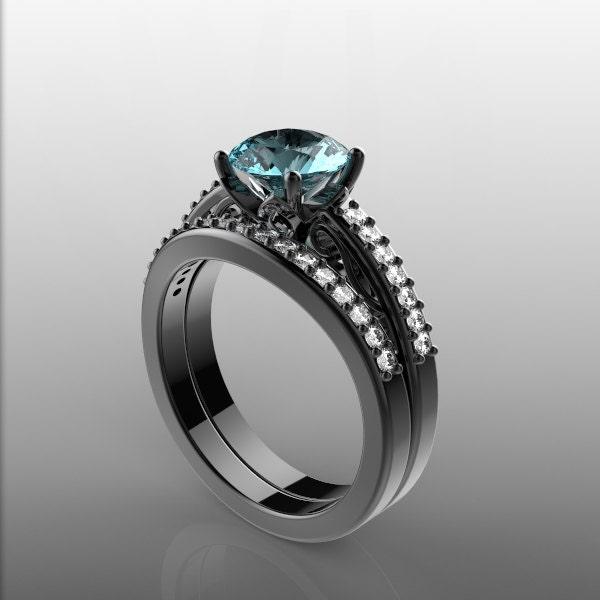 14k black gold engagement ring and wedding by ParisDesignBoutique