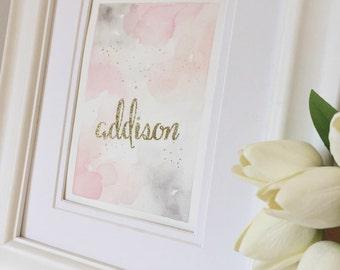 Custom Glitter Name Nursery  Watercolor, Hand-Painted Gold Nursery Decor, Baby Name Nursery Art, Baby Girl Nursery Art, Custom Name/Color