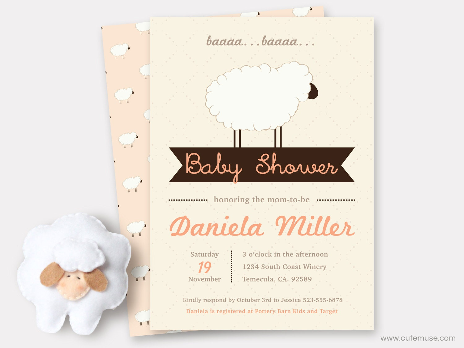 peach little lamb baby shower invitations printable sheep