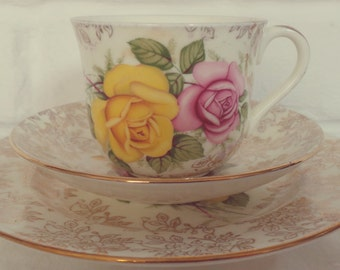 Stunning Vintage Pink and Yellow Floral English Bone China Tea Set Trio for One. Perfect for a Tea Party, afternoon tea