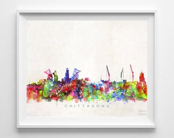 Chittagong Skyline Print, Bangladesh Print, Chittagong Poster, Watercolor Painting, Wall Art, Dorm Decor, Back To School