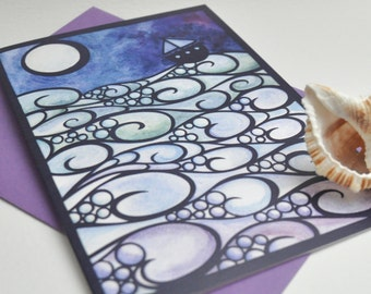 Moonlight Sailing papercut print card