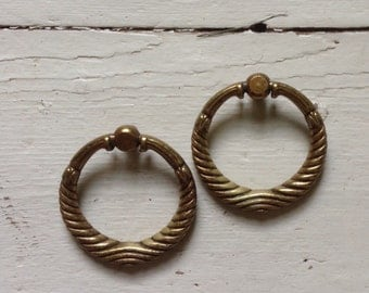 Vintage Large Brass Ring Drawer Pulls