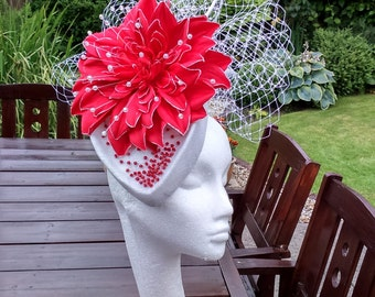 Red and White Percher Fascinator.  Hatinator, Headpiece for Mother of the Bride, Race Meetings, Kentucky Derby, Royal Ascot Hat