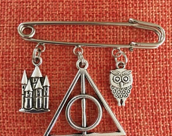 Custom Pin Deathly Hallows Pin Golden Snitch Hedwig Owl Slytherin Snake Hogwarts Castle Sorting Hat Kilt Pin Wizard Broom Harry