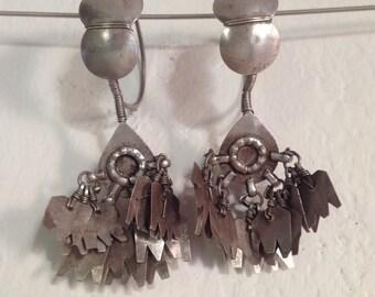 Old tribal silver earrings from Gujarat, Gujarat tribal earrings, Indian old silver, Indian jewelry, tribal, ethnic