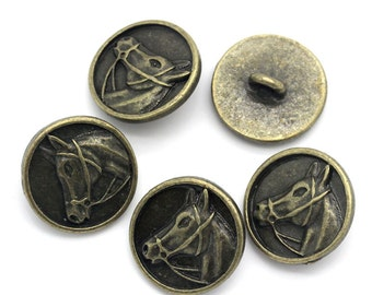 Metal Antique Gold Horse Head Design Buttons. 15mm. Nickel Free. Ideal for Sewing Knitting Scrapbook and other craft projects