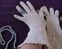 Antique Victorian Off White Crochet Gloves 1910, Over the Wrist Edwardian Gloves