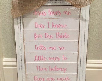 Jesus loves me - Baby/Child wall art