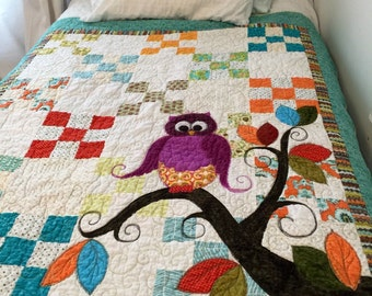 Baby Quilt // Owl Quilt // Baby Shower Gift // Nursery Quilt //Toddler Girl's Quilt // Child's Room // Handmade Quilt