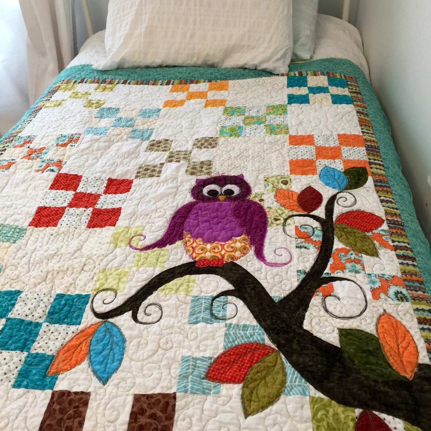 Baby Gift Quilt : Baby quilt owl shower gift nursery