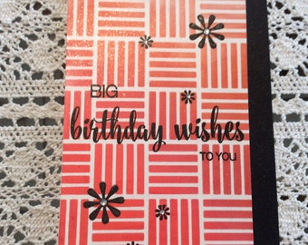 Handmade Greeting Card:  Birthday Wishes . Red and black card