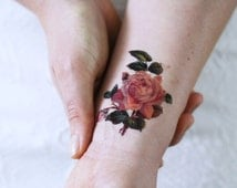 Small rose temporary tattoo / small temporary tattoo / floral temporary tattoo / flower temporary tattoo / vintage temporary tattoo / floral