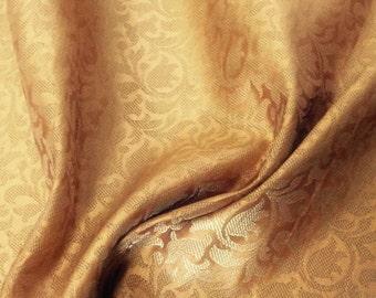 20% OFF Gold Bridal Reversible Silk Brocade Fabric,Wedding Indian brocade,Brocade by yard, dress fabric, Wedding brocade