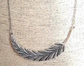 silver necklace with feather