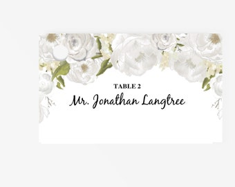 Printable Place Card Template | Editable Escort Word Tent Card and Gift card | Instant Download  | DIY You print | Peony | White Floral