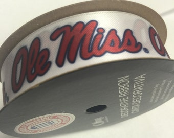 7/8-inch Ole Miss Rebels Ribbon, NCCA ribbon  Offray College Ribbon - 9 feet / University of Mississippi