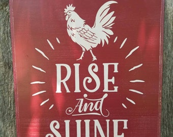"12"" X 10"" Hand Painted Wood Sign  Rise and Shine Mother Cluckers Rooster Kitchen"