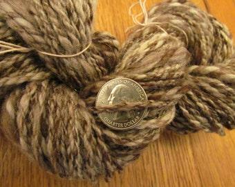 """Handspun Worsted Art Yarn """"Tree Trunk"""" 112 yards -  Merino, Alpaca  Thick n Thin, Brown Tweed"""