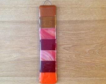 Fused Glass Suncatcher oranges & reds