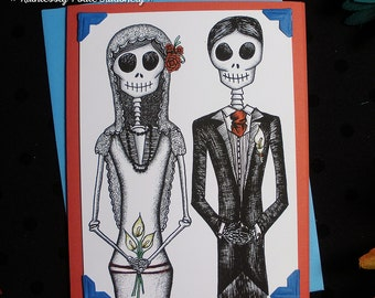 Bride + Groom in 'Pura Vida' / Calavera Wedding Handmade Greeting Card