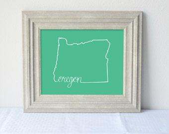 Printable Oregon State Art Print 8x10 Digital Wall Art Gift