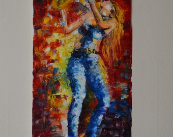 Hand painted original oil painting Music