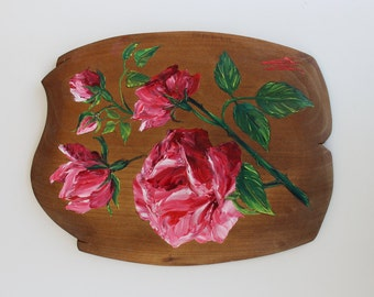 Hand painted Roses Flowers oil painting on wooden piece