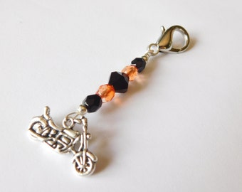 Motorcycle Purse Charm - Zipper Charm - Bag Charm - Bead Charm - Backpack Charm - Orange and Black Beads - Gift for Her