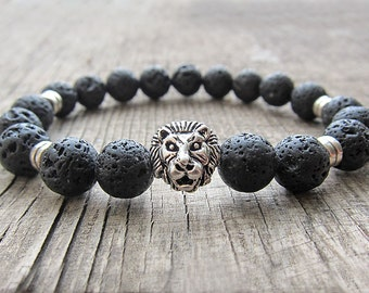 Lion bracelet Mens bracelet Boyfriend Gift ideas for men Lava bracelet Beaded bracelet Mens jewellery Stretch bracelet Mens black bracelet